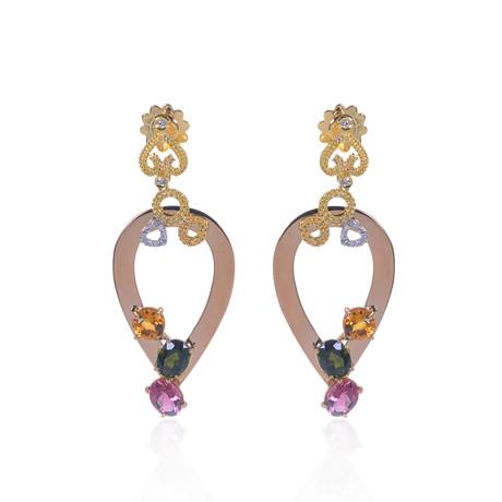 Roberto Coin 18k Three-Tone Gold Diamond + Amethyst Earrings