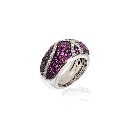 Roberto Coin 18k White Gold Diamond + Pink Sapphire Ring // Ring Size: 5.75