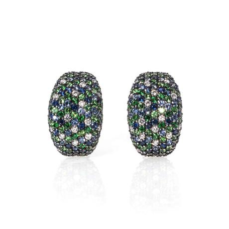 Roberto Coin 18k White Gold Diamond + Sapphire Huggie Earrings