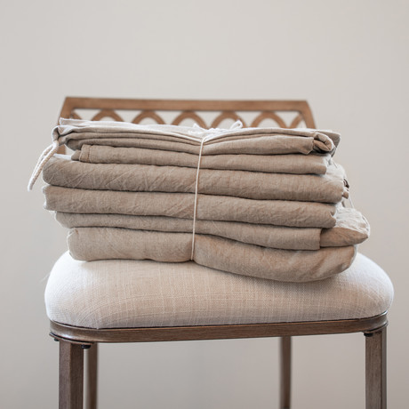 Belgian Flax Linen Sheet // Natural (Fitted Sheet // King)