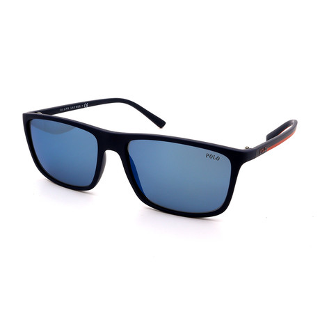 Polo // Men's PH4115-560655 Sunglasses // Matte Blue + Blue Mirror
