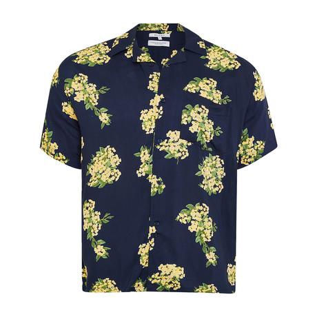 Rampur Floral Button-Up Shirt // Navy (S)