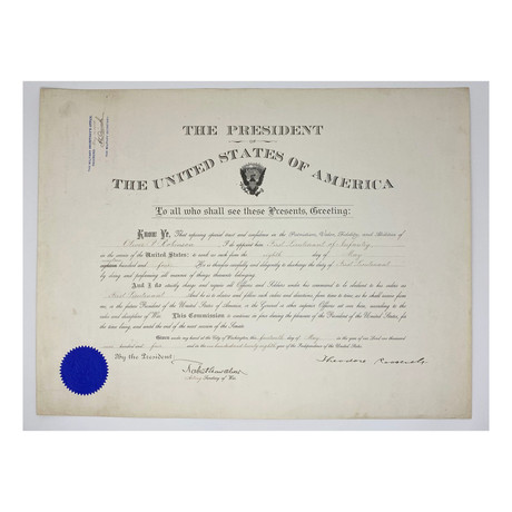 Theodore Roosevelt & Robert Shaw Oliver Signed 1904 Presidential Military Appointment
