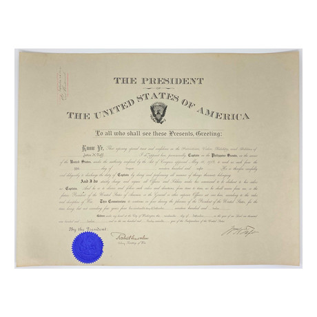 William H. Taft & Robert Shaw Oliver Signed 1912 Presidential Military Appointment