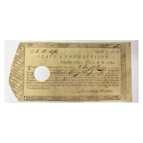 1782 Continental Army Connecticut Line Bond Issued to a Revolutionary War Soldier