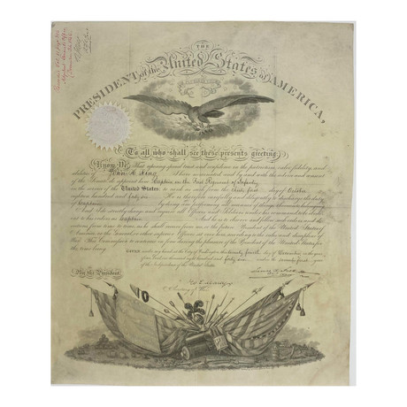 James K. Polk & William L. Marcy Signed 1846 Presidential Military Appointment