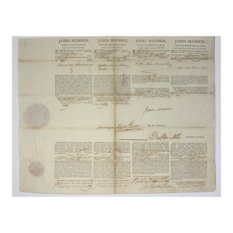 James Madison Signed 1809  Shipping Passport in 4 Languages