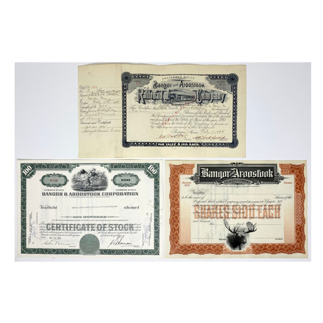 Set of 3 Bangor & Aroostook Railroad Company Stock Certificates // 1890s - 1960s