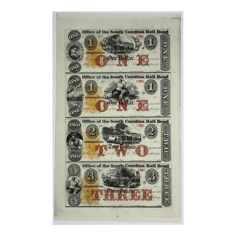 South Carolina Rail Road Company Banknotes // Uncut Sheet of 4 Unissued Notes // Circa. mid 1800s