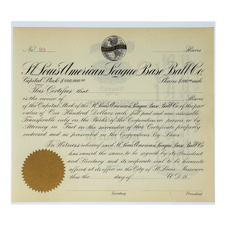 Unissued 1920s St. Louis American League Base Ball Company Stock Certificate // St. Louis Browns