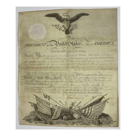 James Madison Signed 1812 Presidential Military Appointment