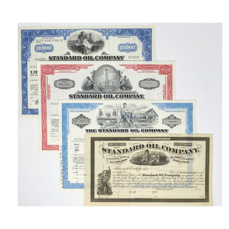 100 Years of the Standard Oil Company // Set of 4 Stock Certificates // 1870s - 1970s