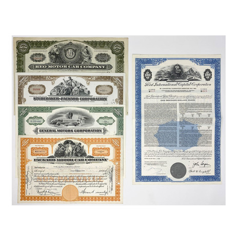 Automobile Collection // Set of 5 Automotive Company Stock Certificates // 1920s - 1970s