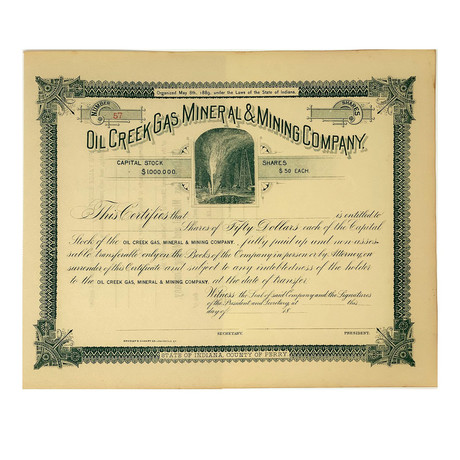 Set of 2 Stock Certificates // Oil Creek Gas, Mineral, & Mining Co. (Unissued) and Oil Creek & Allegheny River Rail Way Co. // 1870s-1890s