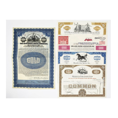 Sports & Entertainment Collection // Set of 6 Stock & Bond Certificates // 1920s - 1990s