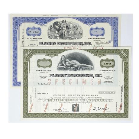 Playboy Enterprises Stock Certificates // Set of 2 // 1970s - 1990s