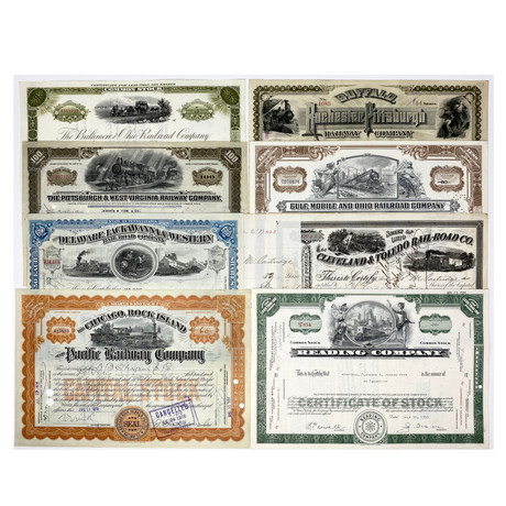 Great American Railroads // Set of 8 Stock Certificates // 1860s - 1950s