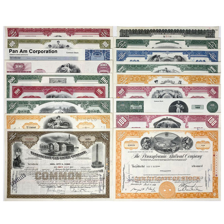 Premium Collection // Set Of 18 Stock Certificates // Great American Corporations 1920s - 1980s