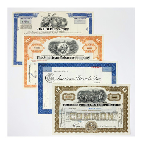 Tobacco Collection // Set of 4 Stock Certificates // 1920s - 1990s