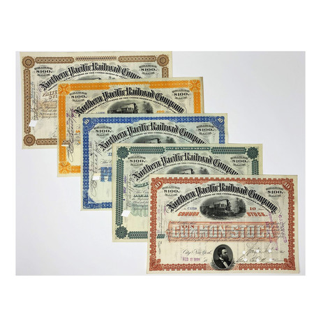 Northern Pacific Railroad Company Stock Certificates // Set of 5 in Different Colors // 1876 - 1897