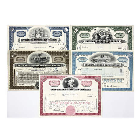 Deluxe Display Presentation // Set of 25 Stock Certificates // Great American Corporations 1920s - 1970s