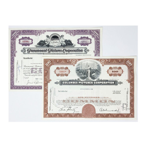 Hollywood Collection // Set of 2 Columbia Pictures & Paramount Pictures Stock Certificates // 1950s - 1970s