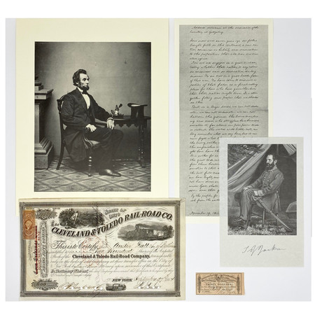 Civil War Collection // Cleveland & Toledo Railroad Stock Certificate, Confederate Payment Coupon, & 3 Prints // 1861 - 1864