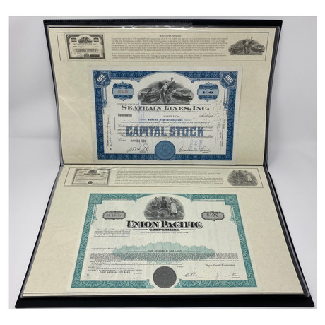 Great American Railroads Deluxe Display // Set of 25 Stock & Bond Certificates // 1920s - 1970s