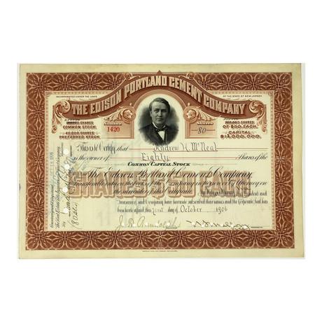 Thomas Edison Portland Cement Company Stock Certificate // 1900s - 1920s