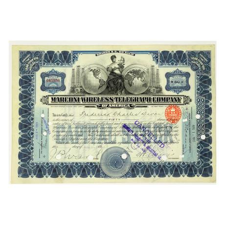 Marconi Wireless Telegraph Company Stock Certificate // 1913 - 1919