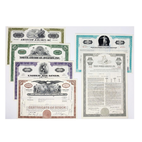 Aviation Collection // Set of 6 Airline Company Stock Certificates // 1950s - 1970s