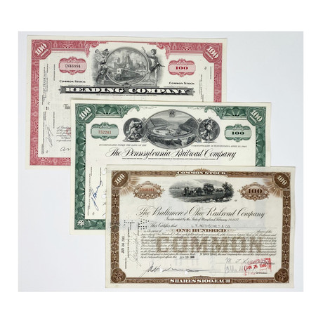 Monopoly Railroad Collection // Set Of 3 Stock Certificates // 1940s - 1970s