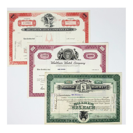Timepiece Collection // Set of 3 Bulova, Elgin, & Waltham Watch Company Stock Certificates // 1920s - 1960s