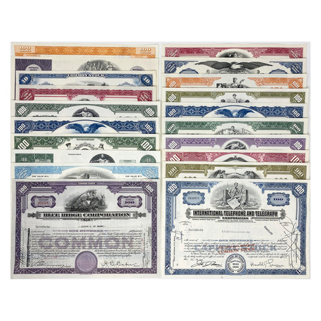 Starter Collection // Set Of 20 Stock Certificates // Great American Corporations 1920s - 1970s