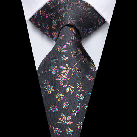 Shadow Handmade Silk Tie // Charcoal + Iridescent