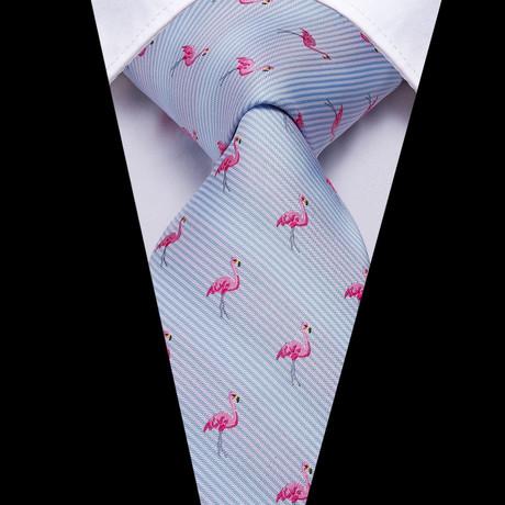 Flamingo Handmade Silk Tie // Light Blue