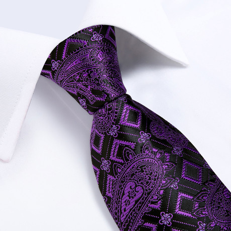 Venus Handmade Silk Tie // Black + Purple