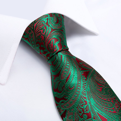 Garden Handmade Silk Tie // Green + Deep Red