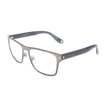 Men's Rectangle GV-0011-QSJ Optical Frames // Matte Ruthenium + Dark Gray