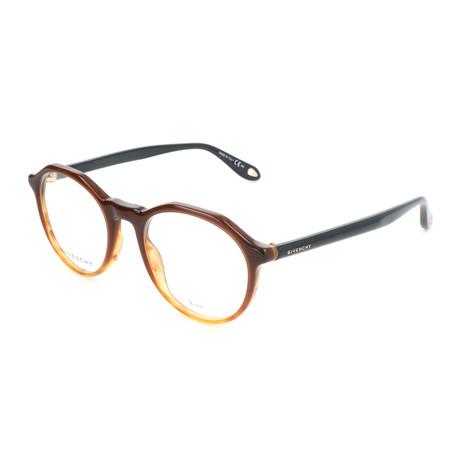 Men's Hexagon GV-0085-K2E Optical Frames // Orange Brown + Blue + Beige
