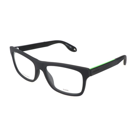 Unisex Rectangle GV-0018-WS8 Optical Frames // Black + Green Fluorescent