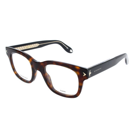 Unisex Rectangle GV-0032-9WZ Optical Frames // Havana + Black Crystal