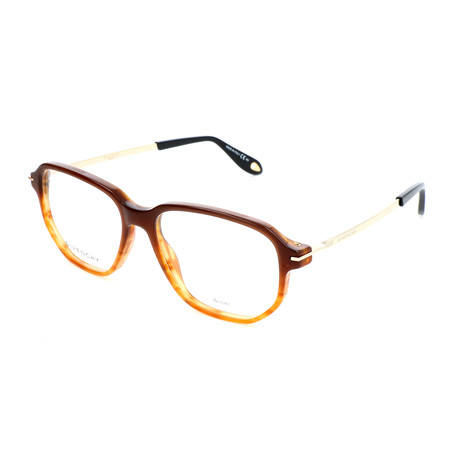 Givenchy // Men's Rectangle GV-0079-KVI Optical Frames // Striped Brown