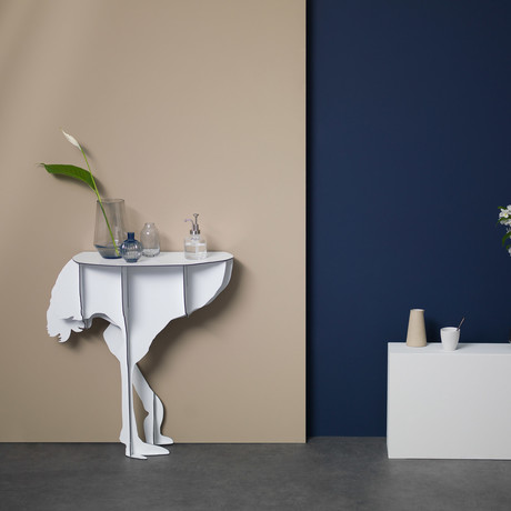 Diva Ostrich // Wall Console // Glossy White