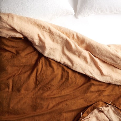 Reversible Belgian Flax Linen Duvet Cover // Oat Tobacco (Queen)