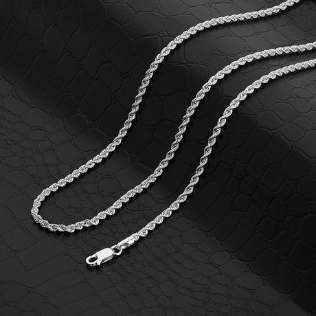 """Italian DC Laser Rope Chain Necklace // 3mm // Rhodium Plated (18"""" // 9g)"""