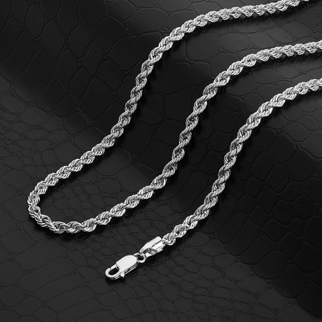 """Italian DC Laser Rope Chain Necklace // 4mm // Rhodium Plated (24"""" // 30g)"""