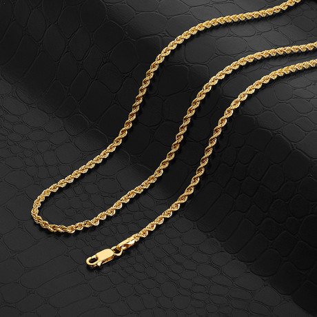 """Italian DC Laser Rope Chain Necklace // 3mm // 14k Gold Plated (18"""" // 9g)"""