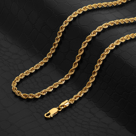 """Italian DC Laser Rope Chain Necklace // 4mm // 14k Gold Plated (24"""" // 30g)"""