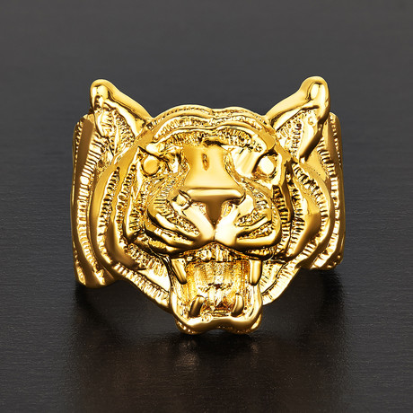 Brass Tiger Face Ring (Size 8)